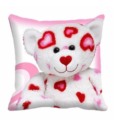 Me Sleep White & Pink Cotton 16 X 16 Inch Teddy Bear Digitally Printed Cushion Cover