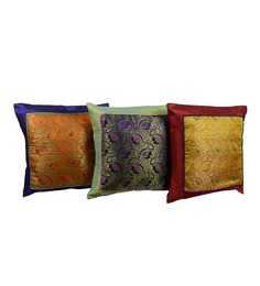 Me Sleep Multicolor Brocade 16 X 16 Inch Paisley Cushion Covers Combo - Set Of 3