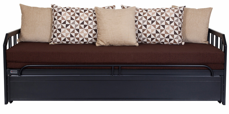 Buy Metallic Sofa Cum Bed With Storage With Brown Mattress
