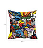 Me Sleep Multicolor Satin 16 x 16 Inch Multihued Collage Cushion Cover