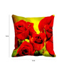 Me Sleep Red & Yellow Satin 16 x 16 Inch Roses Cushion Cover
