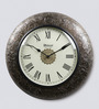 Medieval India Antique Gold Wood & Brass 11.4 Inch Roman Dial Round Wall Clock