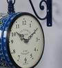 Medieval India Blue Iron 9 x 5.4 x 12.5 Inch Hand Painted Alluring Victoria Station Wall Clock