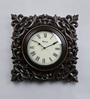 Medieval India Brown Wooden 15 x 1.4 x 15 Inch Carving Square Clock