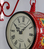Medieval India Red Iron 9 x 5.4 x 12.5 Inch Hand Painted Station Wall Clock Victoria
