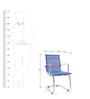 Mesh Fabric Mid Back Fixed Chair in Blue Color by FabChair