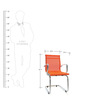 Mesh Fabric Mid Back Fixed Chair in Orange Color by FabChair