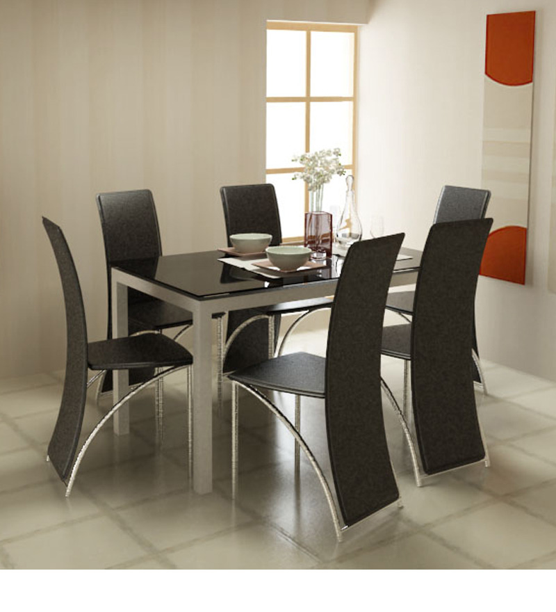 Midnight Dining Table With Black Glass Top By Godrej