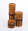 Micasa Brown with Gold Border Design Candles - Set of 3