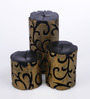 Micasa Black & Gold Design Candles - Set of 3