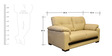 Mobil Two Seater Sofa in Beige Colour by Home City