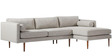 Modern LHS Sofa Track Style Arms and Conical Wooden Legs by Afydecor