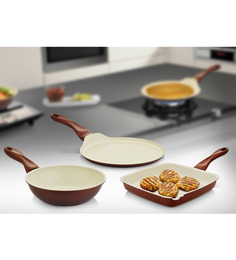 Mondo Ceramic Coated Non Stick 3 Pcs Cookware Set - Grillpan+Kadhai+Tawa