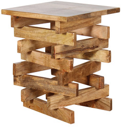 Jenga Solid Wood End table in Natural Mango Wood Finish By Woodsworth