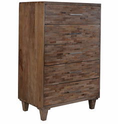 Mosaic Wood Chest Of Drawers In Brown Colour By The Yellow Door