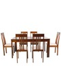 Modern Six Seater Dining Set in Brown Color by Afydecor