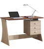 Modern Study Table with Broad Drawers and Metal Pulls by AfyDecor