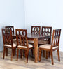 Wisconsin Six Seater Dining Set in Provincial Teak Finish by Woodsworth