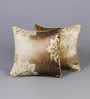 Muslin Gold Poly Silk 12 x 12 Inch Baroque-Era Cushion Cover - Set of 2