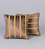 Muslin Multicolour Velvet 12 x 12 Inch Stripe Design Cushion Cover - Set of 2