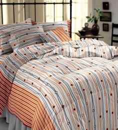 My Room Orange Striped Double Bedsheet With 2 Pillow Covers