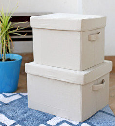 My Gift Booth Beige Linen Storage Box - Set Of 2