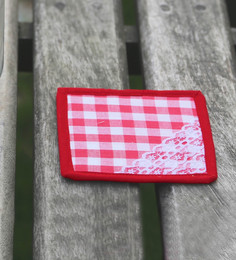 My Gift Booth Check Red Cotton Coasters - Set Of 6