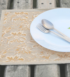 My Gift Booth Lace Beige Lace Placemats - Set Of 6