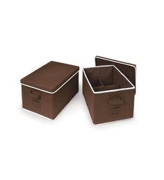 My Gift Booth Brown Nonwoven Clothes Organiser Set Of 2
