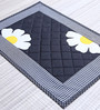 My Gift Booth Plain Flower Pattern Black Cotton Table Mat - Set of 6