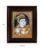 Myangadi Multicolour Gold Plated Butter Krishna Framed Tanjore Painting