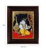 Myangadi Multicolour Gold Plated Krishna with Butter Pot Framed Tanjore Painting