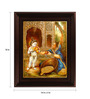 Myangadi Multicolour Gold Plated Krishna with Fruits Framed Tanjore Painting
