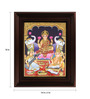 Myangadi Multicolour Gold Plated Saraswati Ganesh Framed Tanjore Painting
