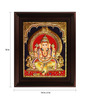 Myangadi Multicolour Gold Plated Mantap Ganesha Plywood & Cloth Framed Tanjore Painting
