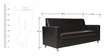 Nano Leatherette Three Seater Sofa in Black Colour by Crystal Furnitech