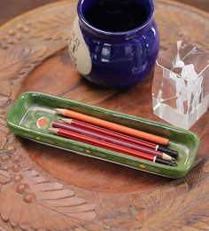 Neerja Blue & Green Pottery & Pen Holder - Set Of 2