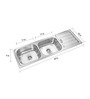 Neelkanth Alexender 5418 Glossy Stainless Steel Double Bowl kitchen sink with Drainer