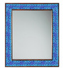 Neerja Blue & Purple Wood & Ceramic Pottery Mirror