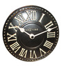Nextime Black Polyresin 6.4 Inch London Roman Table Clock