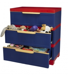 Nilkamal Freedom Chester 13 With 3 Drawers (Pepsi Blue and Bright Red)