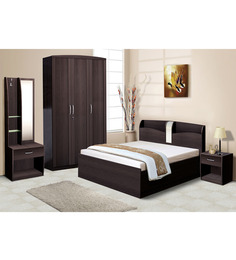 Nilkamal Imperial Wenge Bedroom Combo Set (3 Door Wardrobe+Dressing Table+Queen Size Bed+Bedside Table+Stool)