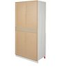 Niels Three Door Wardrobe in Beige and Red Finish by Alsapan