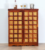 Niramitra Bar Cabinet with Floral Brass Repousse Work by Mudramark