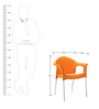 Novella Visitor Chair with Arms in Orange Colour by Nilkamal