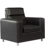 Oasis One Seater Leatherette Sofa in Black Colour by Tube Style