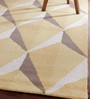 Obeetee Mocha & Yellow Wool 96 x 60 Inch Geo Gemstone Carpet