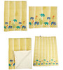 Cocobee Offwhite  Elephant and Yellow Stripes Print Baby Quilt in White Colour
