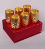 Ojas Gold Stainless Steel Gold Plated Royal Bindi Glass Set