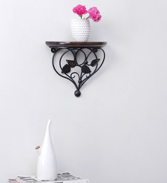 Onlineshoppee Brown Mango Wood Leaf Design Shelf Rack Wall Bracket